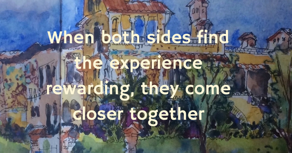 When both sides find the experience rewarding, they come closer together