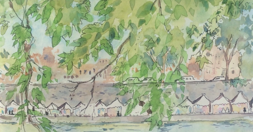 watercolor of the Tevere river in Rome