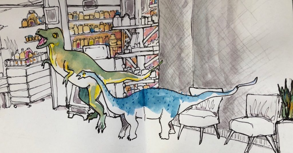 sketch of two chatting dinosaurs
