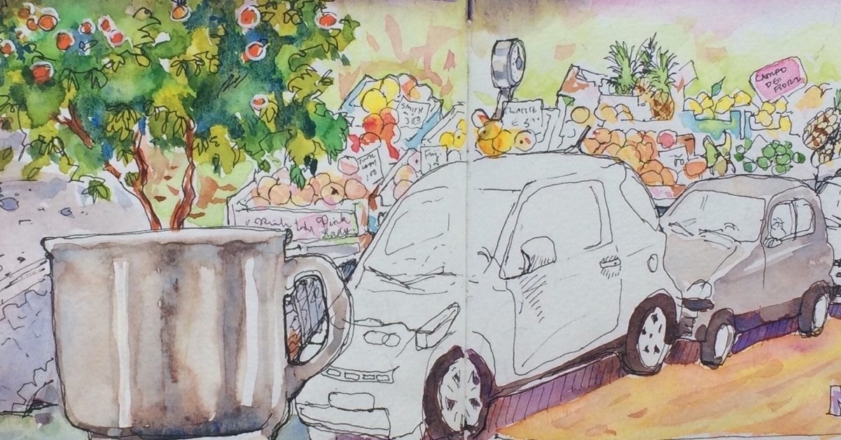 composite watercolor image of cars, a cup, and orange trees